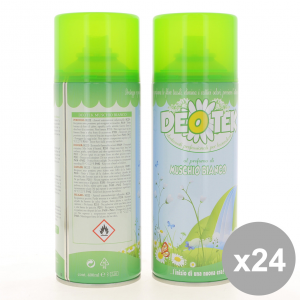 Set 24 DEOTEK Deodorante Spray 400Ml Muschio Bianco - Cura del Corpo