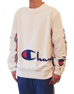 Felpa bianca con logo ricamato Champion