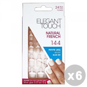 ELEGANT TOUCH Set 6 ELEGANT TOUCH Unghie finte 144 natural french petite bare