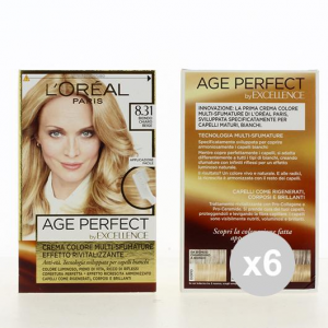 Set 6 EXCELLENCE Age Perfect 8,31 Biondo Chiaro Colore Permanente Tinta per capelli