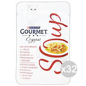 Set 32 GOURMET Crystal Soup Busta Pollo/Pesce Bianco/Verdure 40 Gr Cibo Per Gatti