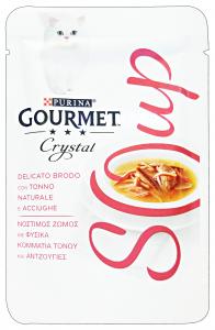 GOURMET Crystal Soup Busta Tonno/Acciughe 40 Gr Cibo Per Gatti