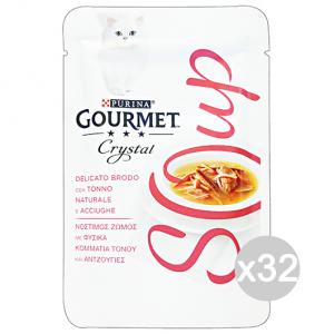 Set 32 GOURMET Crystal Soup Busta Tonno/Acciughe 40 Gr Cibo Per Gatti