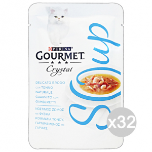 Set 32 GOURMET Crystal Soup Busta Tonno/Gamberetti 40 Gr Cibo Per Gatti
