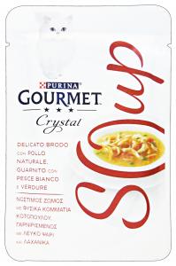 GOURMET Crystal Soup Busta Pollo/Pesce Bianco/Verdure 40 Gr Cibo Per Gatti