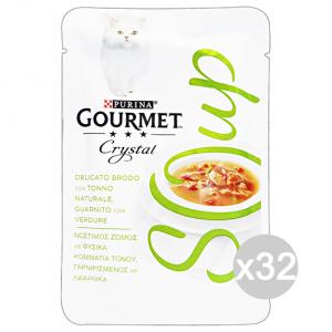 Set 32 GOURMET Crystal Soup Busta Tonno/Verdure 40 Gr Cibo Per Gatti