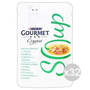 Set 32 GOURMET Crystal Soup Busta Pollo/Verdure 40 Gr Cibo Per Gatti