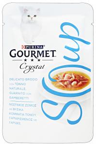 GOURMET Crystal Soup Busta Tonno/Gamberetti 40 Gr Cibo Per Gatti