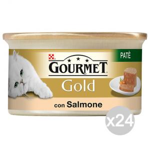 Set 24 GOURMET Gold Lattine Pate' Salmone 85 Gr Cibo Per Gatti
