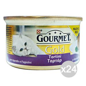 Set 24 GOURMET Gold Lattine Tortini Agnello/Fagiolini 85 Gr Cibo Per Gatti