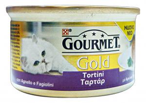 GOURMET Gold Lattine Tortini Agnello/Fagiolini 85 Gr Cibo Per Gatti
