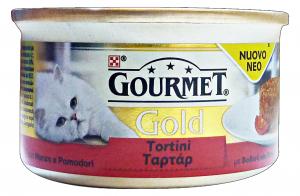 GOURMET Gold Lattine Tortini Manzo/Pomodoro 85 Gr Cibo Per Gatti