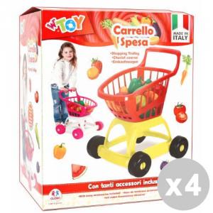 GLOBO Set 4 GLOBO Carrello della spesa con accessori - giocattoli