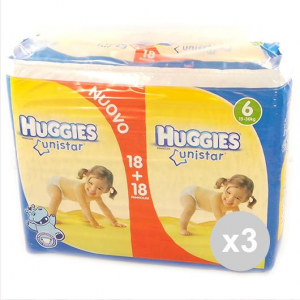 Set 3 HUGGIES Unistar 36 Pezzi 15-30Kg (Misura 6) Pannolini Infanzia e Neonati