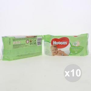 Set 10 HUGGIES Salviette 56 Pezzi Natural Care Pannolini Infanzia E Neonati