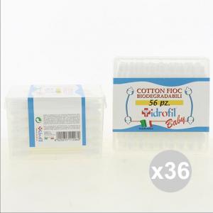 Set 36 IDROFIL Cotton Fioc Baby Biodegradabili per bambini 56 Pezzi Bellezza E Salute
