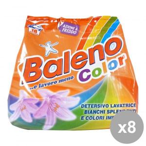Set 8 BALENO Lavatrice Polvere 18 Mis. Colorati 1,26 KG. Detergenti casa