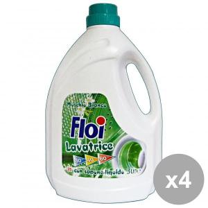 Set 4 FLOI Lavatrice Liquido 25 MIS=3 Lt. Muschio Bianco Detergenti casa