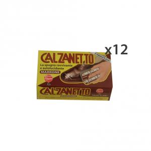Set 12 CALZANETTO Marrone + Autolucidante In Spugna Attrezzi Pulizie