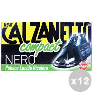 CALZANETTO Set 12 CALZANETTO Compact nero + autolucidante in spugna - linea scarpe