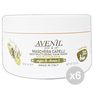 Set 6 AVENIL Maschera Ristrutturante Argan/Vitamina E 300 Ml Prodotto Per Capelli