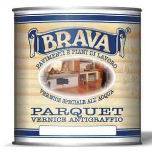 BRAVA Vernice Parquet Trasparente Lucida All'Acqua Ml 750 Bricolage Fai Da Te