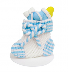 Calza bimbo Bianca e azzurra cm.4,2x4,2x4,5h