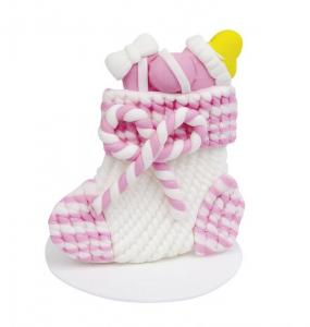 Calza bimba bianca e rosa cm.4,2x4,2x4,5h