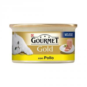 'Set  24 PURINA Gold Mousse Con Pollo Delicato Umido Gatto Gr. 85'