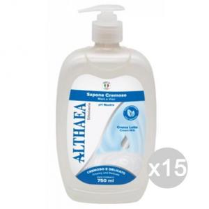 'Set 15 ALTHAEA Sapone Liquido Cremoso Latte Compl.750Ml Cura E Pulizia Del Corpo'