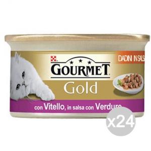 'Set 24 PURINA Gourmet Gold Dadini Vitello Verdure Gr 85 Cibo Per Gatti'