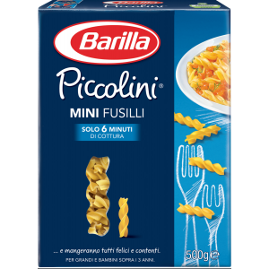 BARILLA Piccolini Mini Fusilli 500 Grammi Pasta Made In Italy