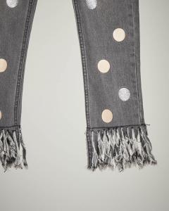 Jeans grigio frange e bolli 34-38