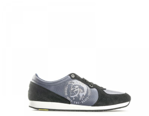 DIESEL Sneakers trendy uomo nero/blu con tomaia in pelle scamosciata
