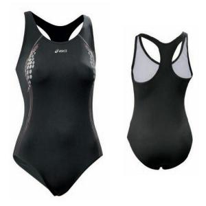 ASICS Costume intero nuoto piscina donna allenamento FRANZY nero grigio T637ZJ