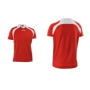 ASICS T-shirt maniche corte pallavolo uomo 95% cotone POINT rosso bianco T545Z1