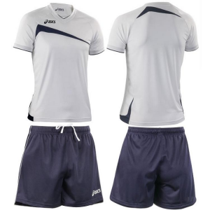 ASICS Kit pallavolo beach volley uomo t-shirt + shorts PLAYOFF bianco blu T600Z1