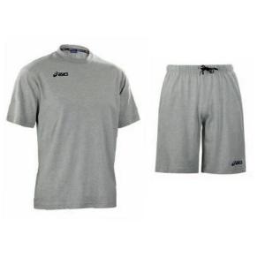 ASICS Kit sportivo unisex t-shirt + short cotone GYMNASIUM grigio T216Z8