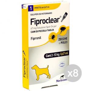 Set 8 FIPROCLEAR Cane 1 Pipetta 2-10Kg Zecch Pulci Alimento Per Cani