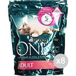 Set 8 PURINA One Gatto Croccantini 800 Salmone Riso Cibo Per Gatti