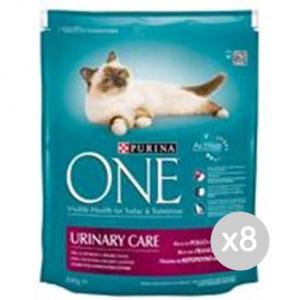 Set 8 PURINA One Gatto Croccantini 800 Urinary Pollo Cibo Per Gatti