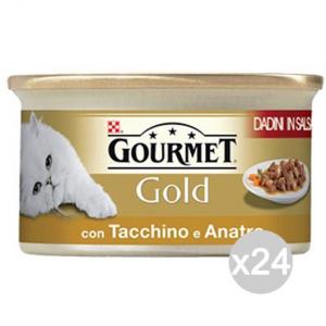 Set 24 PURINA Gourmet Gold Dadini Tacchino Anatra Gr 85 Cibo Per Gatti