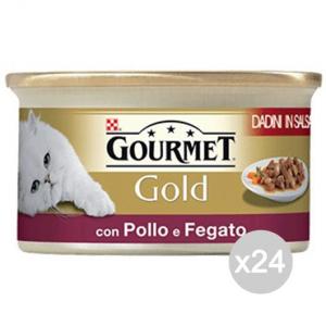 Set 24 PURINA Gourmet Gold Dadini Fegatini Pollo Gr 85 Cibo Per Gatti