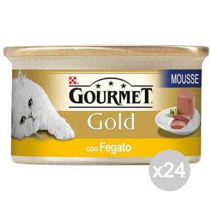 Set 24 PURINA Gourmet Gold Mousse Fegato Gr 85 Cibo Per Gatti