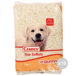 Set 10 CRANCY Cane riso soffiato kg 1 cibo per cani