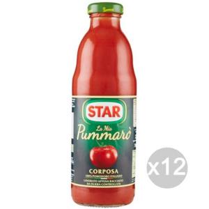 Set 12 STAR Passata Pummaro Gr 700 Vetro Condimento Per Pasta
