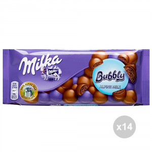 Set 14 MILKA Cioccolata tavoletta bubbly milk gr. 90 4016829 snack dolce