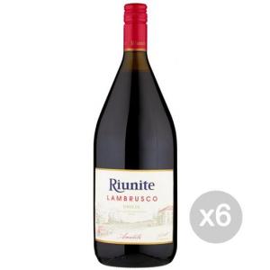 Set 6 Vino Lambrusco Rosso Lt 1.5 Amabile C.Riunite Bevanda Alcolica Da Tavola