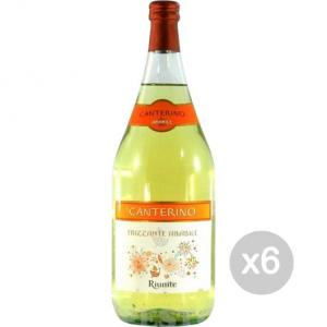 Set 6 Vino Canterino Bianco Lt 1.5 Amabile Bevanda Alcolica Da Tavola