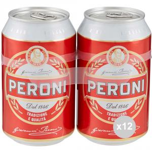 Set 12 PERONI Birra lattina 33x2 bevanda alcolica da tavola